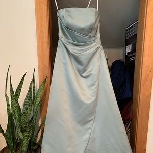David's Bridal sage satin dress!